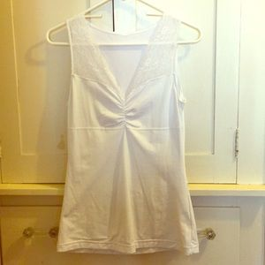White Stretchy Top with Lace Details Size Medium